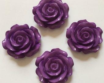 2 pcs 30 mm Indigo Cabochon Flowers,Rose,Indigo rose cabochon,30 mm Indigo rose,flower kit,dark purple resin flower,Indigo rose cabochon,
