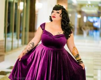 "SALE! Vintage Plum Velvet Cherrybomb Swing Dress by HARDLEY DANGEROUS 1950s Rockabilly Bridesmaid Party, Pin Up Semi Formal, Knee length 38"""