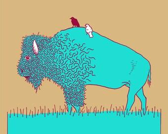 Bison with Bird Friends - Variant