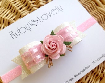 Baby/Girl Pink Bow, Pink Headband, Pink White Wedding Bow/Headband, Wedding Clip, Flower Headband/Hair Clip, Flower Bow, Pink Birthday