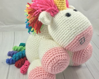 Fluffy Rainbow Unicorn - Stuffed Animal - Unicorn Plush - Stuffed Toy Unicorn - Toddler Toy - Stuffed Rainbow Unicorn - Stuffed Unicorn Toy