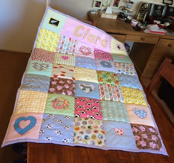 Baby Gift Quilt : Quilted personalised blanket baby gift petbabyhome quilt