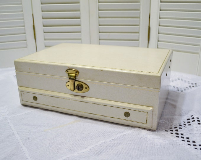 Vintage Jewelry Box Cream White Red Interior Pop Out Drawer Gold Details PanchosPorch
