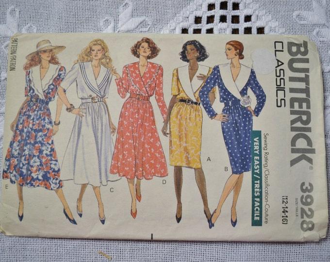 Butterick Pattern 3928 Misses Dress Size 12 14 16 Sewing Supplies PanchosPorch