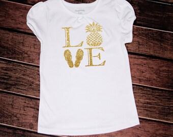 Summer pinapple flipflop love t-shirt//baby//girls//toddler//glitter//sparkle//love