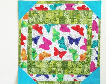 Table Topper , Table Scarf, Room Decor,  BUTTERFLIES  ARE  FREE Quilted Table Runner ,Wall Hanging , Place Mat , Table Linen , Blue ,