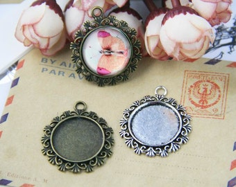 Cabochon blanks 20mm 0.78'' circle glass cabochons pendant blanks cameo bases cabochon bezels vintage silver antique bronze PTR20-A1160