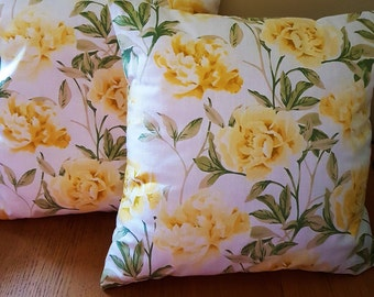 Yellow shabby Roses cushion cover - cotton -  40cm - CLEARANCE