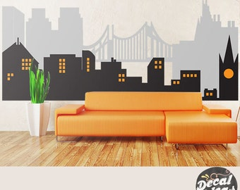 City Skyline Decal Superhero City Skyline Wall Decal - Superhero vinyl wall decals