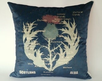 Scottish Thistle Map Cushion, Antique look, Scottish map, Map of Scotland, Scottish cities and towns, Scottish place names, Visit Scotland