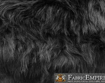 "Faux Fur Fabric Long Pile Monkey Shaggy BLACK / 60"" Wide / Sold by the yard"