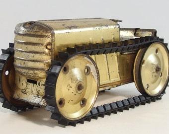 Vintage 1930's Louis Marx Tin Litho Crawler Tractor