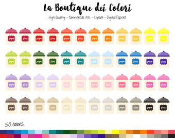 50 Rainbow Sugar and Flour Clip art, Graphics PNG, Cute Baking Ingredients colorful Kitchen jars Clipart, Planner Stickers Commercial Use