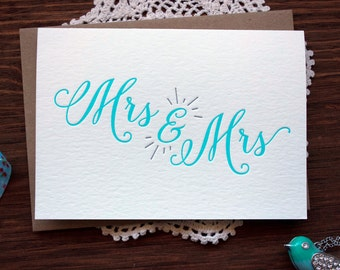 Letterpress Wedding Card - Mrs and Mrs