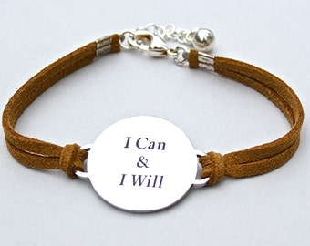 I Can & I Will , Stainless Steel Bracelet, Faux Suede Leather Cord, Inspirational, Adjustable Ext. Chain, Strength, Faith , Believe ST755