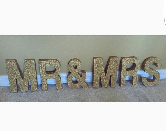 Glitter mr mrs wooden letters by designsbyhailz on etsy for Sparkly wooden letters
