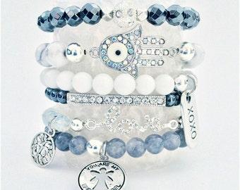 Gemstone stack stretch bracelets