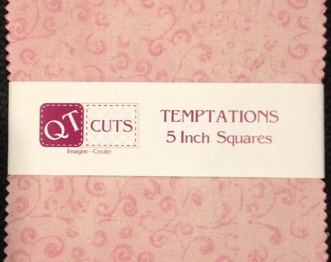"""Quilting Temptations SUPER Charm Pack -  (50) 5"""" X 5"""" Squares - Beautiful Blenders - Cotton Quilt Fabric - Quilting Treasures (W3214)"""