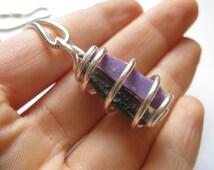 Rare! A-grade Grape Gel SUGILITE & Gem MOLDAVITE Chlum Unisex Sterling Silver Pendant. Powerful TRANSFORMATIONAL Tool! Violet Flame. Crown
