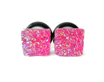 Clearance Sale - Hot Pink Square Sparkle Druzy Plugs - Available in 2g, 0g, and 00g