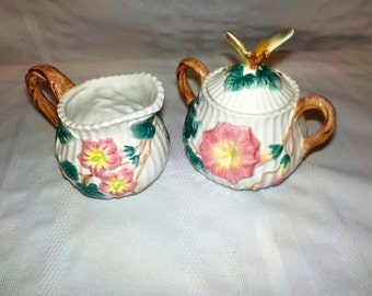 Charming Fitz and Floyd Classics Sugar and Creamer With Butterfly and Morning Glories. Vintage Good Condition Stk #16801-1