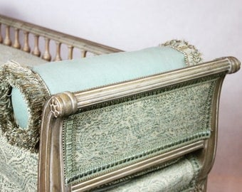 SOLD- white washed french bench with aqua damask fabric trim and two bolster pillows with fringe