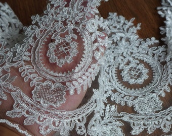 French Alencon Ivory Lace Trim Embroidered Corded Lace Wedding Gown Veils Lace