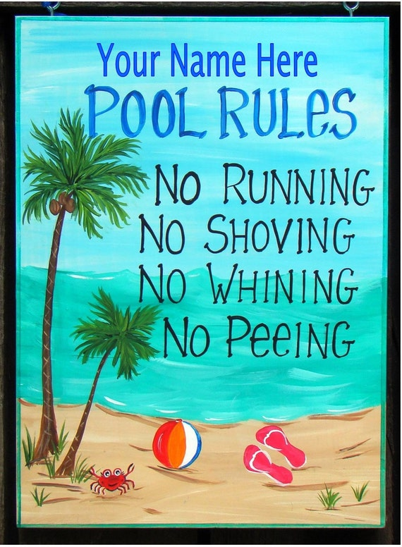 Items Similar To Custom Personalized Swimming Pool Rules Sign With Your Name For Home Can Change