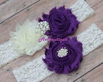 Wedding garter purple, deep purple garters, garter wedding, purple wedding garter, lace garter,  ivory garter set, bridal garter, wedding