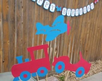 PLANES TRAINS AUTOMOBILES TRANSPORTATiON Centerpiece Birthday Baby Shower Nursery Decor