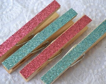Glitter Decorated Clothes Pins | 6 Pieces