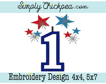 Embroidery Design - Number 1 Appliqué - Fireworks - Fourth of July - July 4th - For 4x4 and 5x7 Hoops