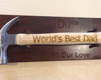 Customized Laser Engraved Wood Hammer & Plaque You Choose the Font and Text