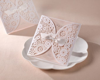 Peach Pink/ White Floral Lace Laser Cut Wedding Bridal Invitation Card with Bow