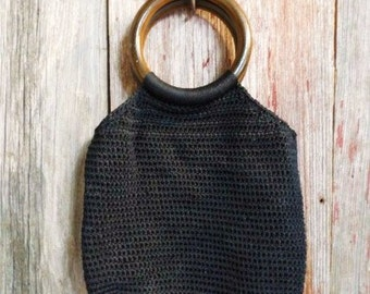 Black Woven Purse with Round Wood Handle- Retro Style- Vintage Fashion-Funky Glam-Fun Fashion Accessory- Authentic Vintage