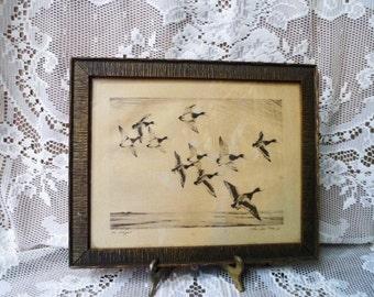 CHURCHILL ETTIGER-Original Pencil Signed Etching- In Flight- Authentic Vintage Art-Framed- 1930's- Artist Signed-Ducks-Orphaned Treasure
