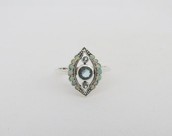 Vintage Sterling Silver Natural Aquamarine & White Opal Ring Size 5.75