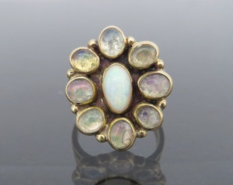 Vintage Modern Design By LR Bennett 14K Solid Yellow Gold 3.50ct Natural Fire Opal Ring Size 9