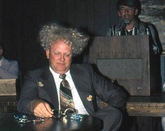 Vintage Photo Slide..Amazing Hair Man 1970's, Original 35mm Photo Slide, Vernacular Photography, Modern American Social History Photo
