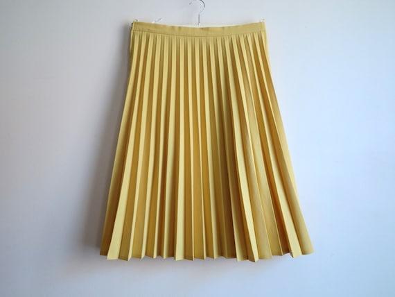 yellow accordion pleated midi skirt high waisted skirt vintage
