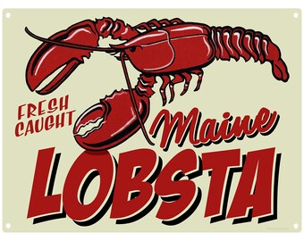Maine Lobsta Fresh Caught Seafood Metal Sign - #38255
