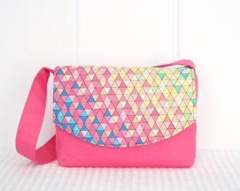 Little Girls Bag / Shoulder Bag / Handbag / Kids Bag / Pink Geometric