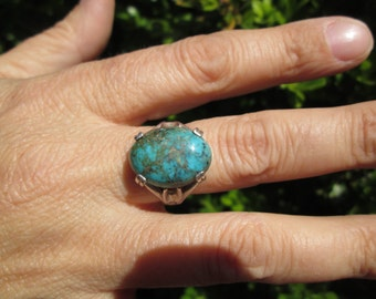 Turquoise and Sterling Ring Size 8.75