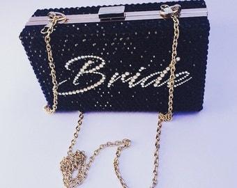Bride rhinestone bling clutch bag