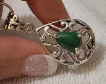 Malachite (Natural) 925 Sterling Silver Necklace - 18 Inch