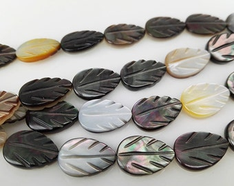 33pcs 12x8mm Black Mother Of Pearl Two-sided Leaf Beads Tahitian Mop Leaf Beads