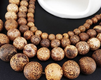 Full Strand 33pcs 12mm Wood Agate Smooth Round Beads Wood Texture Agate Beads