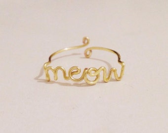 Meow Wire Ring | Kitten and Cat Lover Adjustable Gold Wire Ring