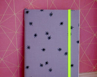 Notebook fgrey fabric with neon elastic