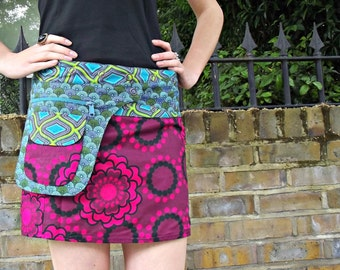 SALE- Free Size Wrap Reversible Cotton Mini SKIRT FLORAL pink and Geometrical blue Print with pocket